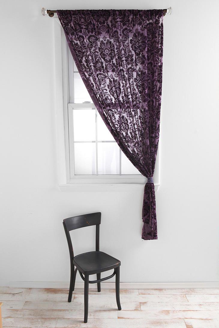 Damask bedroom curtains - Damask Velvet Burnout Curtain