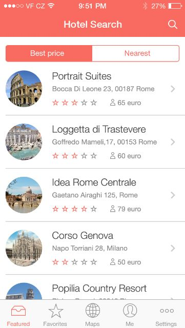 iOS7 App - Hotel Search