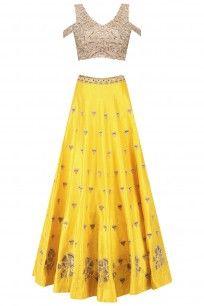 Yellow Gingko Embroidered Lehenga Skirt and Cold Shoulder Blouse Set