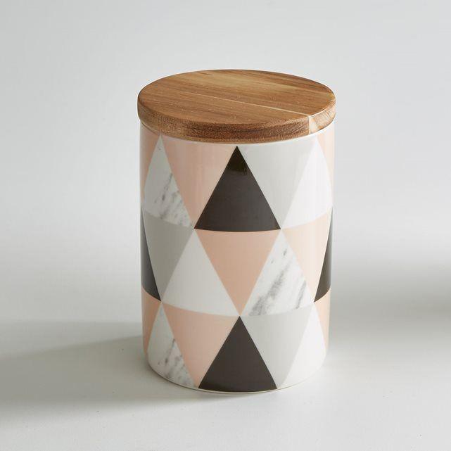 Pot en céramique La redoute Intérieurs avec fermeture hermétique. Couvercle en bambou avec silicone. Impression sur céramique, motifs géométriques. Caractéristiques du pot en céramique :- Pot en céramique - Couvercle en bambou avec   silicone- Diamètre : 11 cm- Hauteur : 14 cm- Contenance : 760 ml- Non compatible lave-vaisselle et micro ondes