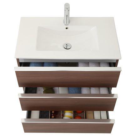 Detalle mueble de baño Discovery de tres cajones, a suelo con zócalo.