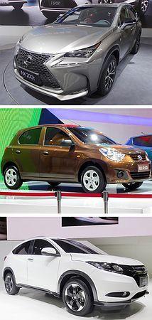 北京モーターショーで披露された、写真上からレクサスが世界初公開したスポーツ用多目的車(SUV)「NX」、日産自動車の中国合弁会社の独自ブランド「ヴェヌーシア」の低価格車、ホンダのSUV「VEZEL」=20日、北京 ▼20Apr2014時事通信|環境対応で中国攻略=出遅れ挽回、2強追う-北京モーターショー http://www.jiji.com/jc/zc?k=201404/2014042000230 #Auto_China #Beijing_International_Automotive_Exhibition #Toyota #Handa #Nissan #NX #Venucia #VEZEL