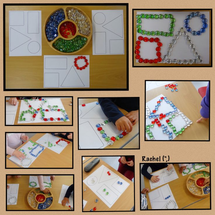 """Shapes and fine-motor skills with glass pebbles (downloadable shapes) from Rachel ("""",)"""