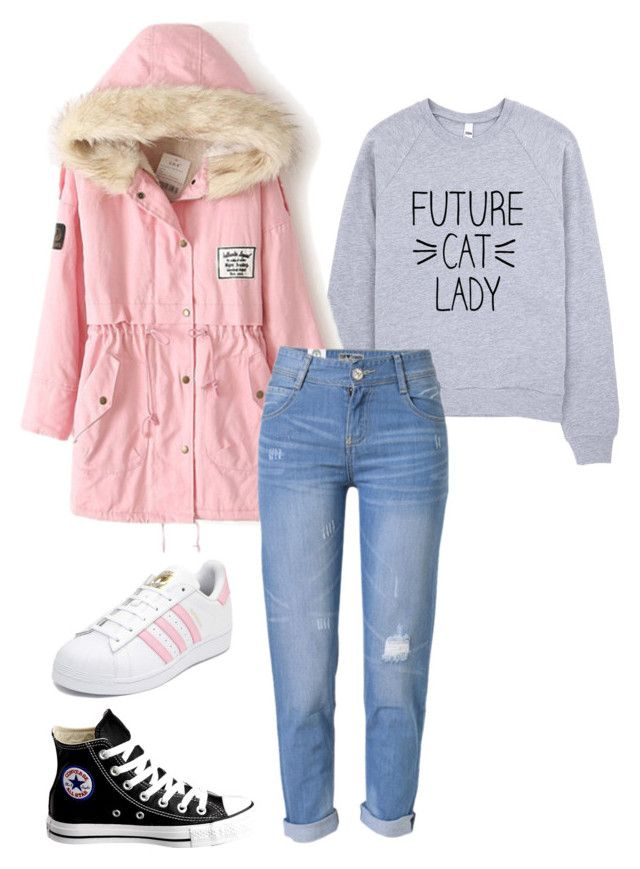 """""""Untitled #227"""" by mojo-malik ❤ liked on Polyvore featuring WithChic, Converse and adidas"""