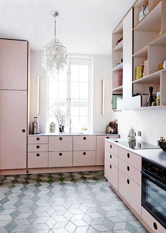 blush pink kitchen cabinets