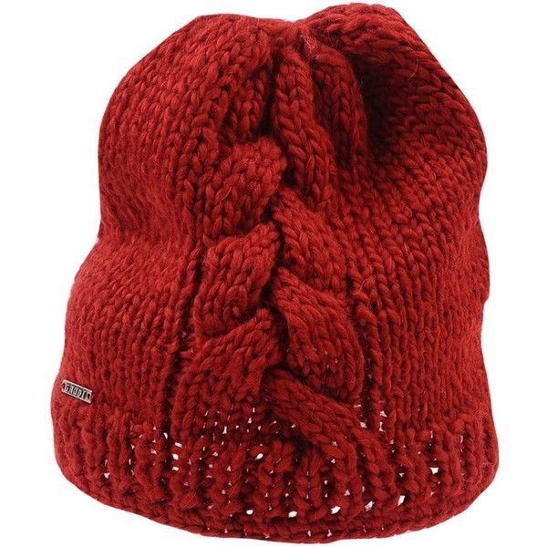 Gaudi' Hat ($27) ❤ liked on Polyvore featuring accessories, hats, red, beanie hat, cable knit hats, acrylic beanie, cable hat and logo beanie