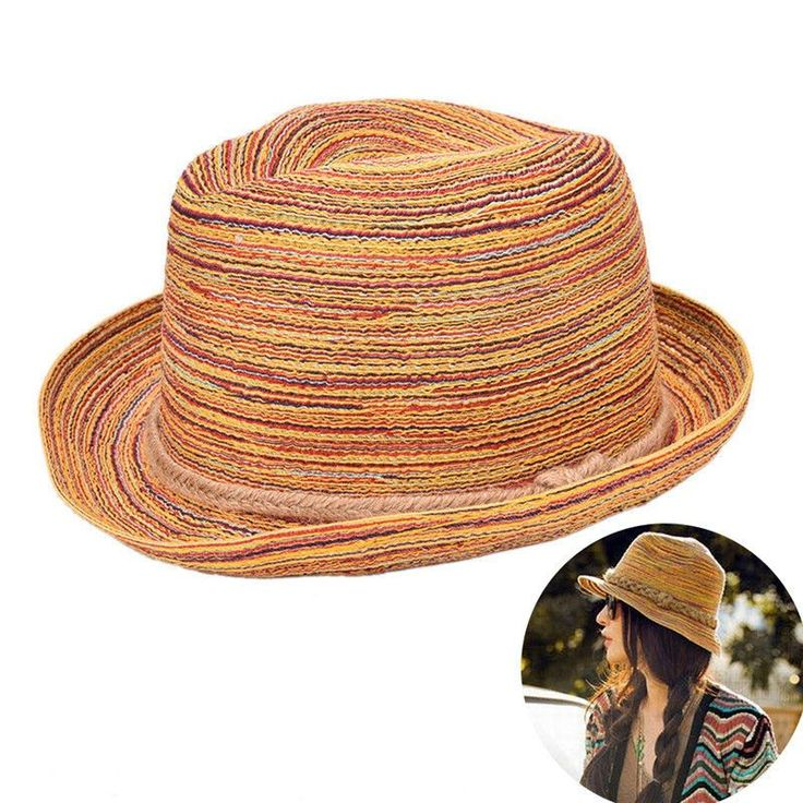 Hot Sale 1Pcs Sombreros Women Colorful Straw Sunhats Summer Jazz Hat Beach Hats Gifts For Women Wholesale