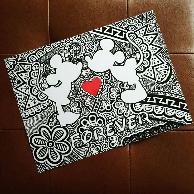 This is a print of an original zentangle drawing of Mickey and Minnie Mouse silhouettes. Great gift for Disney loving couples! Printed on high