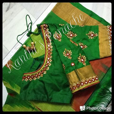 Mirror and kundan work blouse