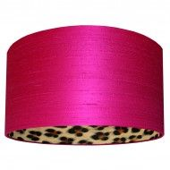 Hot Pink Silk Lampshade With a Leopard Skin Lining | Love Frankie