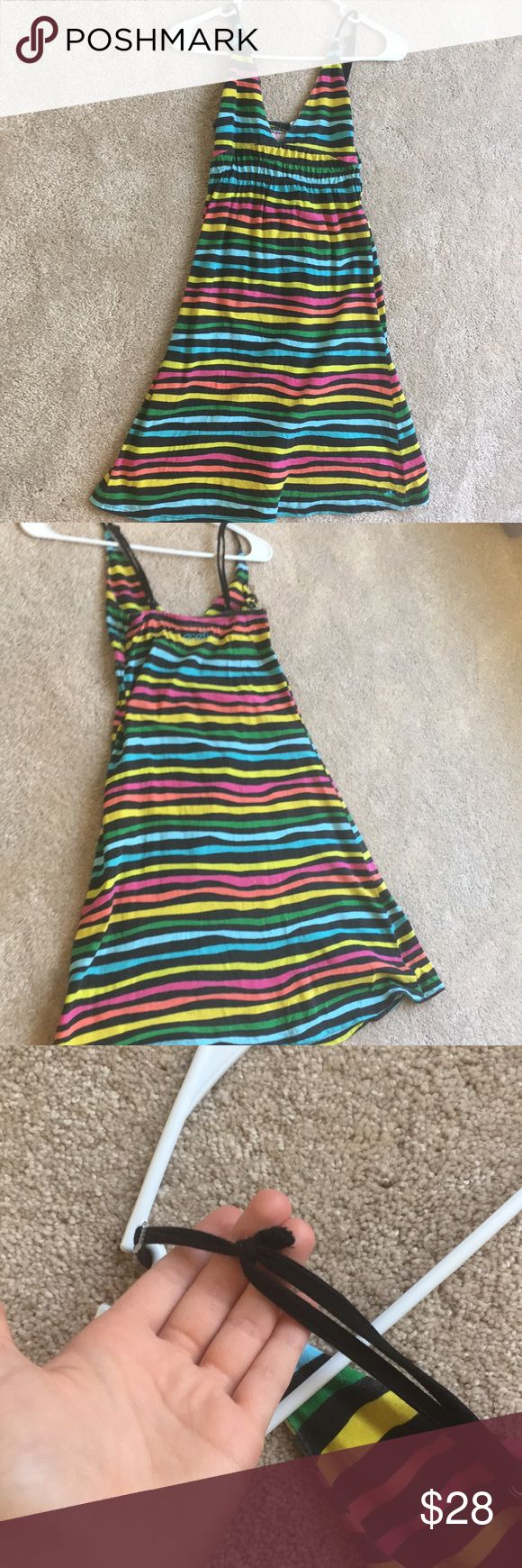 Roxy Rainbow Striped Beach Dress Super cute dress, if it doesn't sell I may just keep it! I love this dress (price reflects that). One flaw as a strap broke and it was knot repaired (shown in last picture). 100% cotton. O'Neill Dresses Midi