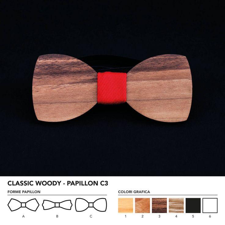 CLASIC WOODY - PAPILLON C3  Papillon in legno di noce nazionale. Nodo centrale personalizzabile in base alle vostre esigenze e alle nostre disponibilità.  N.B. Usando legno massello naturale ogni prodotto presenta diverse venature e sfumature di colore, rendendo così ogni papillon unico è diverso dagli altri.
