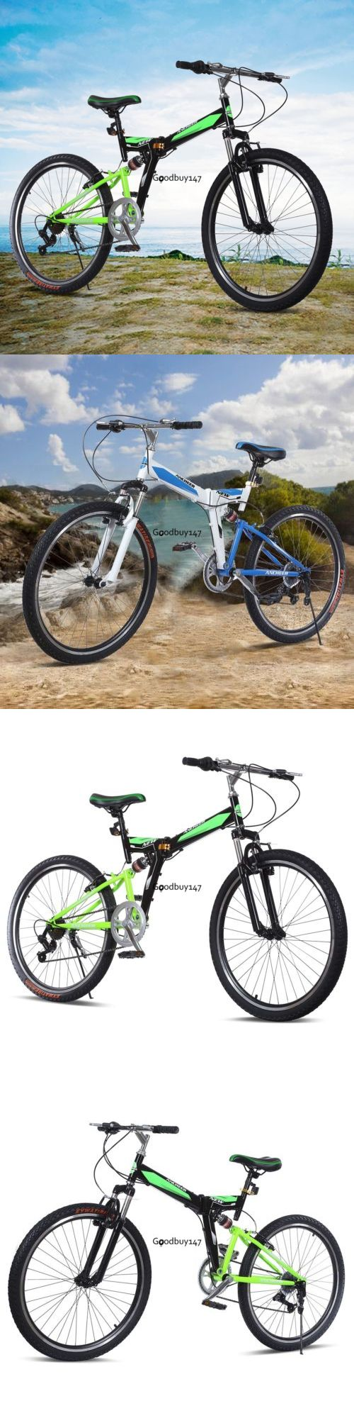 bicycles: 26 Folding Mountain Bike Steel Frame Mens Bicycle 7 Speed Smooth Ride Outdoor# BUY IT NOW ONLY: $106.45