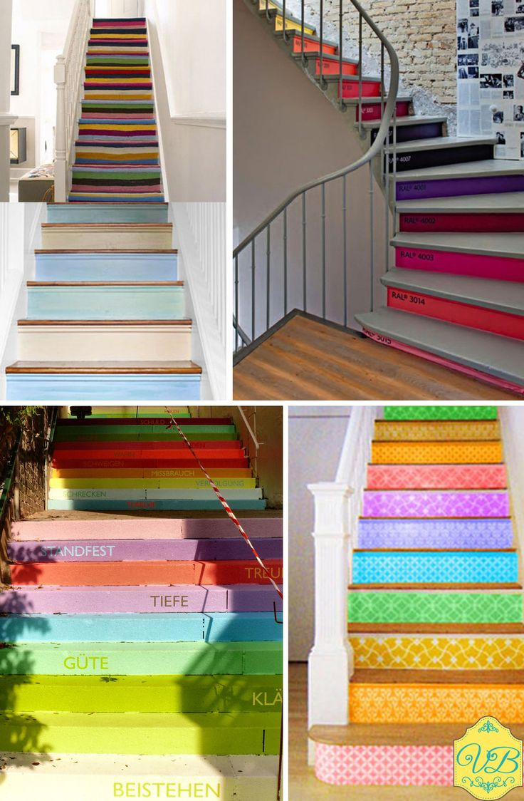 Escadas coloridas!  Pinturas divertidas