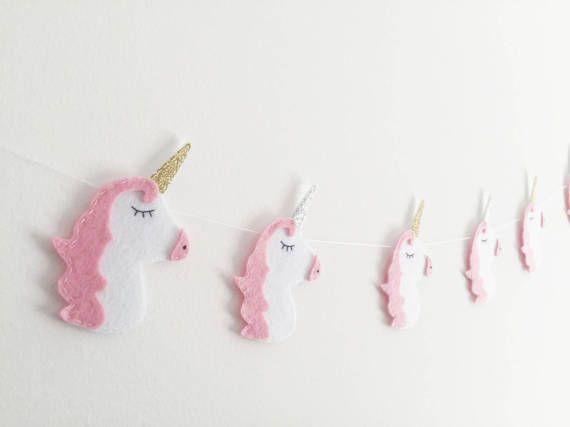 Unicornio unicornios guirnalda fieltro fiesta rosa Escribano Fantasía mágica decoración babyshower princesas de oro y plata brillo vivero decoración niños