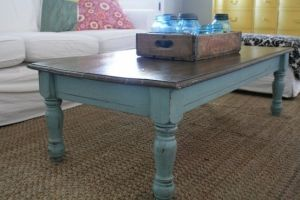 blue coffee table  Do this to den end table