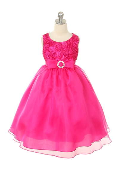 Fuchsia Rosette Tape with Organza Skirting and Rhinestoned Clasp Dress