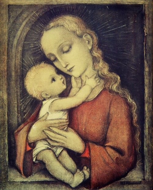 A Madonna by sister Maria Innocentia Hummel, a German Franciscan nun. She became well known for her artwork, which inspired the popular Hummel figurines.