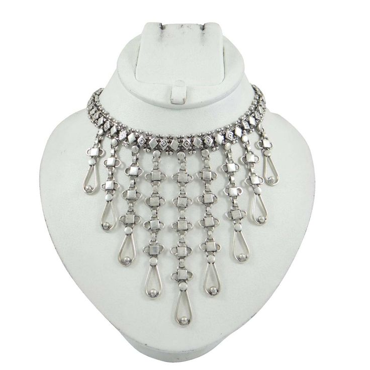 This is a beautiful antique vintage style ethnic silver tone oxidize metal choker necklace which gives you more attractive looks. ..this is img