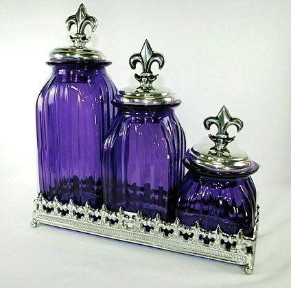 Exceptional Set Of 3 Purple Glass Canisters With Fleur De Lis Lids And Tray Bathroom