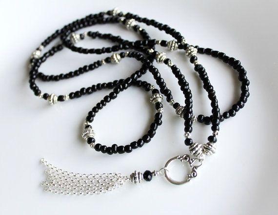 Long Black Beaded Tassel Necklace Black Tassel Necklace Long