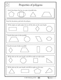 Properties of polygons, parallel sides and right angles - Worksheets & Activities | GreatSchools