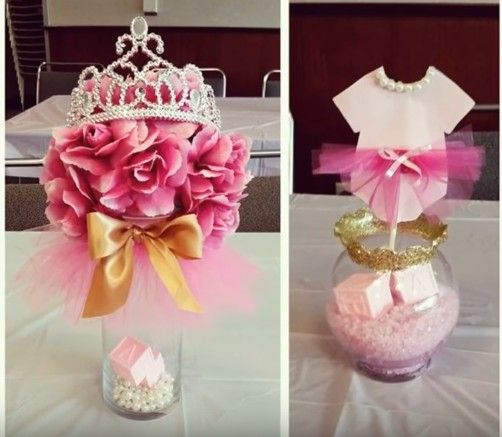 Ideas para centros de mesa de baby shower de princesas for Centro de mesa baby shower