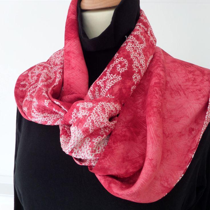 "S146 LONG Skinny stylish necktie/scarf ""Roccoco""; Japanese wedding kimono shibori silk; 176cm/69""X17cm/7""; one-off, hand made;fluid;OCCASION by LizzieHuxtable on Etsy"