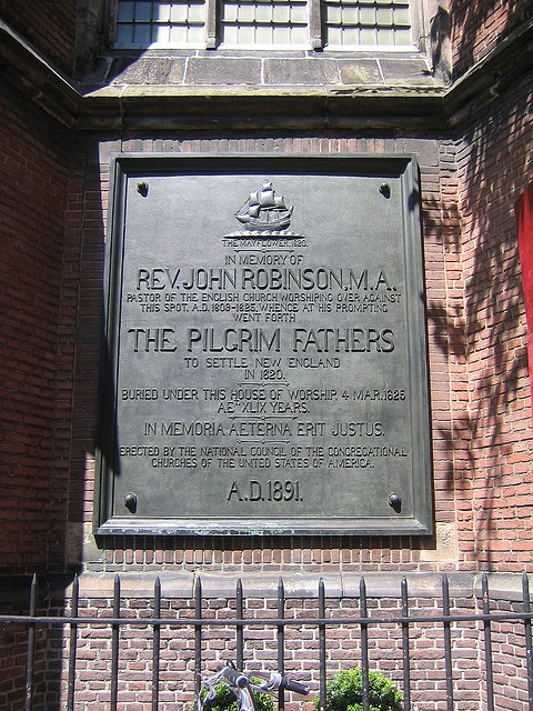 Pilgrim Fathers  Memorial plaque Rev. John Robinson at the Pieterskerk, Leiden