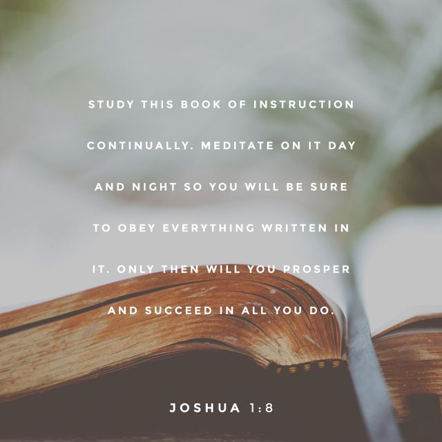 """""""This Book of the Law shall not depart from your mouth, but you shall read [and meditate on] it day and night, so that you may be careful to do [everything] in accordance with all that is written in it; for then you will make your way prosperous, and then you will be successful."""" JOSHUA 1:8  http://bible.com"""