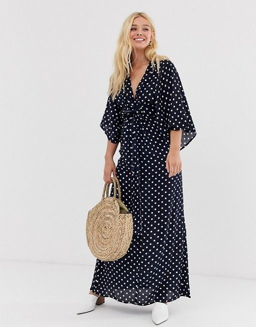 c7727157fb QED London tie front maxi dress in polka dot dress in 2019 | clothes ...