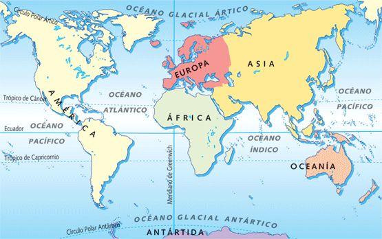 mapa que señala los continentes