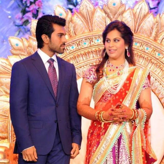 Famous Indian Film Star Ram Charan Tejas Beautiful Wife Upasana Kamineni Granddaughter Of Prathap C Reddy Apollo Hospitals Wearing A Ruby And
