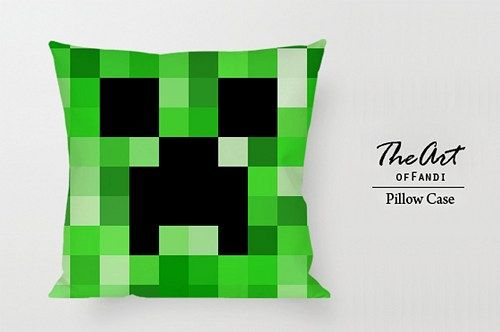 """Minecraft Creeper - Custom Square 18""""x18"""" One Side Pillow Case"""