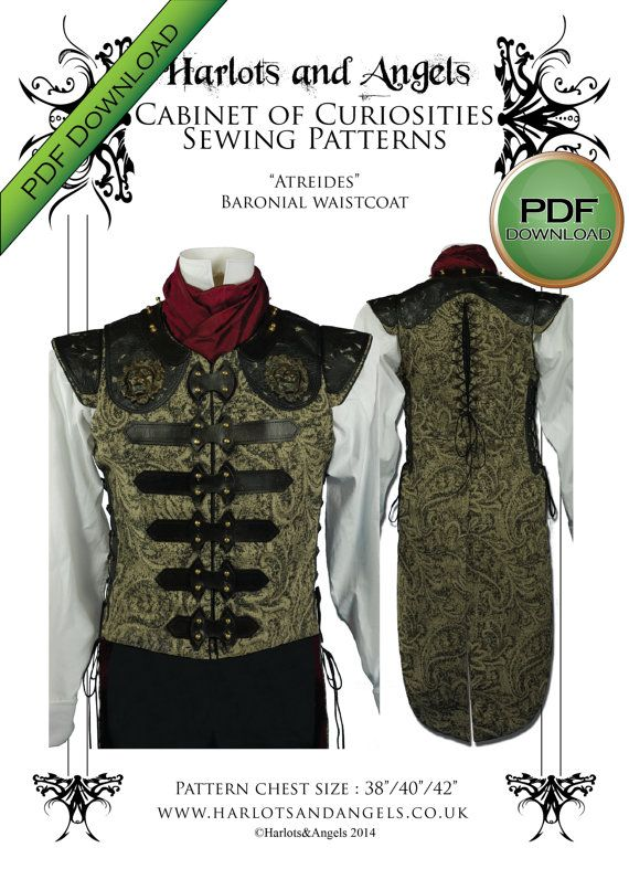 "Mens Steampunk Vest / Waistcoat Sewing pattern. PDF. Prints on USA letter / A4. Size 38"" - 42"""