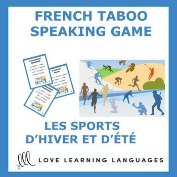 Playing French TABOO is a great way to get students to speak French and learn a lot of new vocabulary. This game is simple to modify and use with beginners and advanced students alike. In this SPORTS D'ÉTÉ ET D'HIVER theme version of the game there 50 French-English cards.
