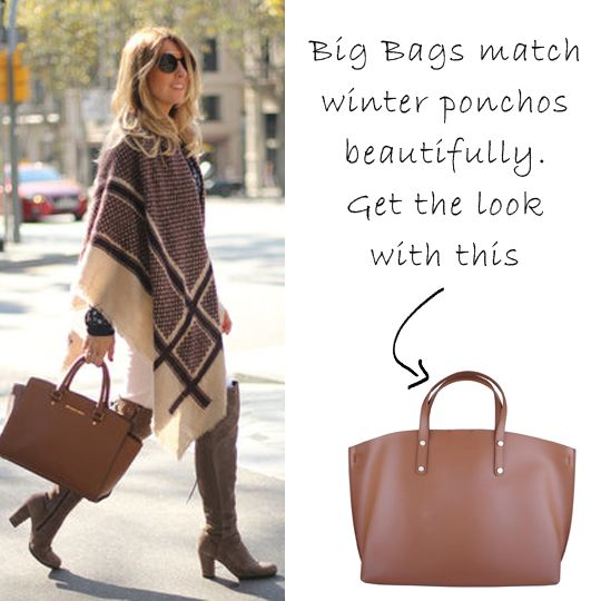 Introducing our Cindy Bag in Cognac. As well as being big, beautiful and stylish, this bag is super sensible. Plenty of room and an inner detachable compartment make it perfect for taking out and about. Accessorise this with ponchos in winter for a runway look: http://ht.ly/KpLiI