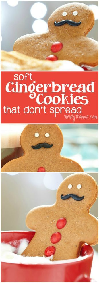 These gingerbread cookies are perfect for making gingerbread men! So soft, too. It's really hard to find a soft recipe for gingerbread cookies that don't spread...love it. More