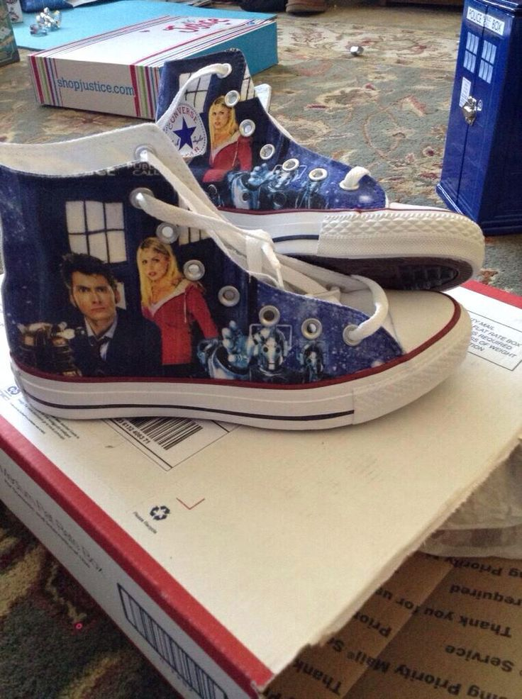 These high toppers are very creative having Dr Who, the companion, the tardis, and the cybermen on the canvas.