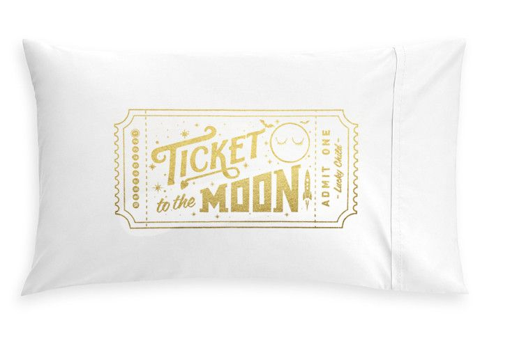 *GOLDEN* TICKET TO THE MOON PILLOW CASE