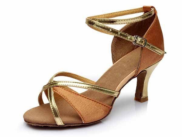 New ballroom tango satin heeled Brand women latin girls shoes dancing ladies 5CM and 7CM gold brown dancing shoes