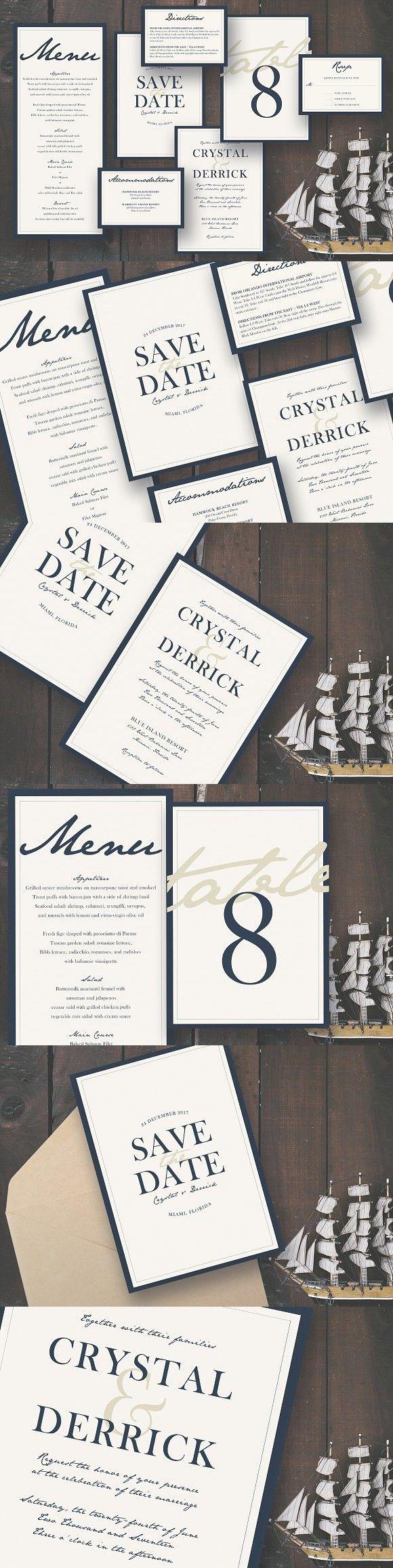 Deep Blue Sea Wedding Suite Wedding Invitation