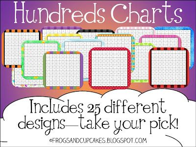 Hundreds charts in tons of different designs!: Hundreds Charts, Schools Math, Cupcake, Numbers Charts, Schools Ideas, Math Ideas, Charts Freebies, Free Hundreds, Teacher Notebooks