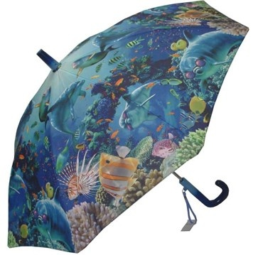 KIDS:  Galleria Sunlit Sea Umbrella  This fun kids umbrella features a colourful underwater scene including cool dolphins wear sunglasses! Steel shaft and frame with durable fibreglass ribs. Curved plastic handle with name-tag and patented non-protruding T-shaped tips and pinch-proof runner for safety, manual opening and closing.    CAD $20.00    http://www.raindropsto.com/umbrellas/kids-umbrellas/galleria-sunlit-sea-umbrella