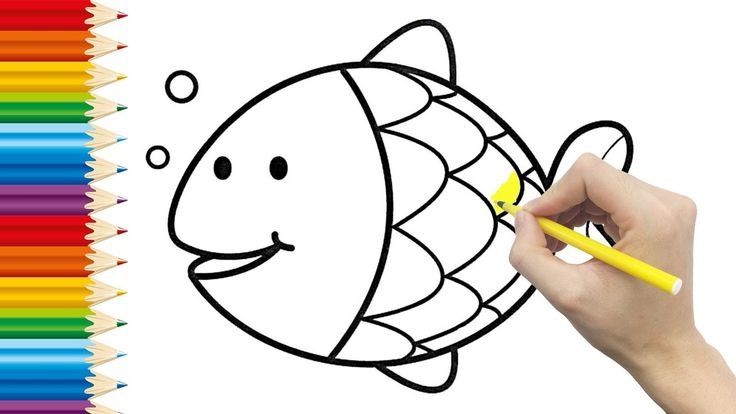 FISH Coloring page for KIDS and Learning How to Draw fish - Videos for children
