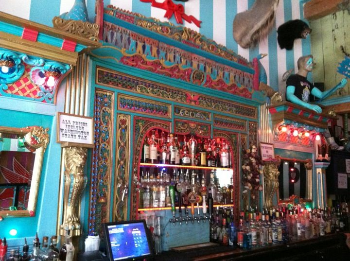 Unicorn Bar, Seattle - circusy, creepy, but oh so irresistible. A little run down but it adds to the character. Drinks are unicorn themed. And Macklemore shot Thrift Shop here.