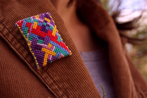 Brooch Inga IV by Zauzleno, textile jewellery