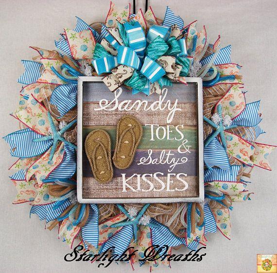 Beach Ruffled Mesh Wreath, Sandy Toes and Salty Kisses Wreath, Summer Burlap Wreath, Summer Decor, Beach Decor