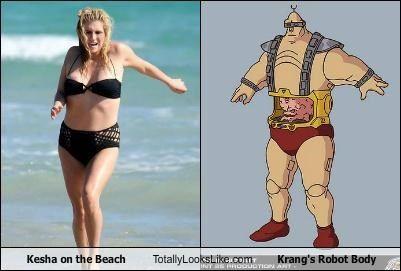 Kesha On The Beach Totally Looks Like Krangs Robot Body