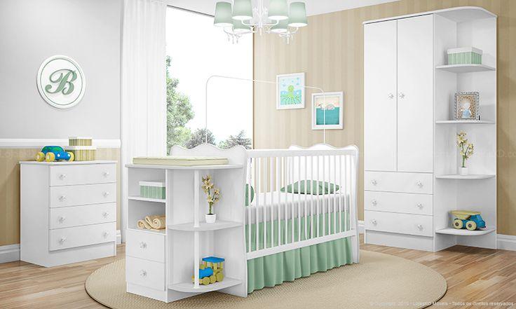 Quarto Infantil Completo Berço com Cômoda Doce Sonho Branco - Casabras | Lojas KD